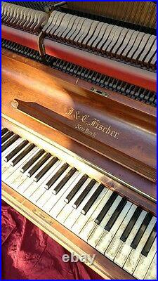 1889 Upright Piano Antique Original Fischer Victorian Wood Selling As Is Wear