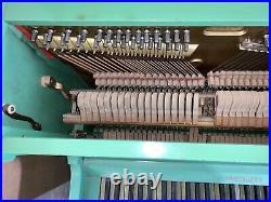 1931 WURLITZER Upright Mini Piano with Original Bench -61 Keys -Green