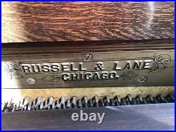ANTIQUE 1890s RUSSELL & LANE Chicago Upright Piano & Stool with Tiger Oak