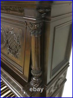 Antique 1878 Shoninger Baroque Revival Mahogany Carved Upright Grand Piano 66