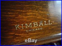 Antique 1894 Upright Kimball Piano and stool- Mission Oak with Carved Detail