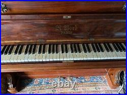 Antique Antoine Bord Parisian Burr Walnut Upright Piano. Ca. 1880s