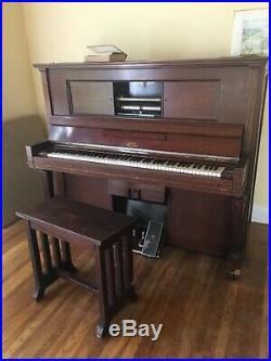 Antique Steinway & Sons Model K-52 Mahogany Upright Vertigrand 1911 (Pianola)
