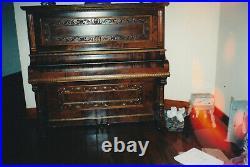 Antique Upright Piano Burled Walnut