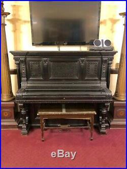 Antique Vintage Hardman Peck New York Ornate Dark Wood Upright Piano