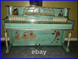 Antique Whimsical Traveling Circus Style Handpainted Harlequin Piano & Stool