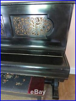 Antique piano 1889 Steinway & Sons black upright, serialnumber #65416
