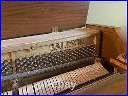 Baldwin Acrosonic Piano with Matching Bench 1960s Beautiful Walnut Finish