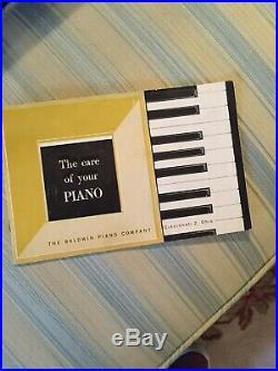 Baldwin Spinet Piano Vintage 1960's Ebony W Upholstered Bench Mirrored/ab Keys
