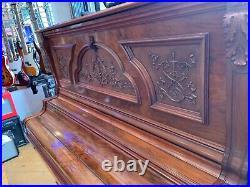 Beautiful Pristine 1898 Antique Bush & Gerts Upright Piano Comp. Overhauled
