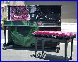 Black Baldwin Piano and art piece Custom hand Painted large flowers and bench