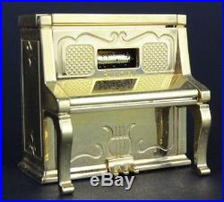 Bulova Mini Miniature Upright Piano Gilt Brass Quartz Novelty Musical Clock NR