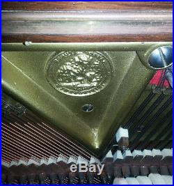 C BECHSTEIN Vertical Grand Piano 1891 Model V, Rosewood, Satinwood Floral Inlay