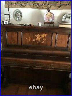 Chappel and Co. London Antique gorgeous Upright Piano with flower inlays