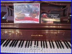 Charles R. Walter Upright Piano in Queen Ann style, cherry wood
