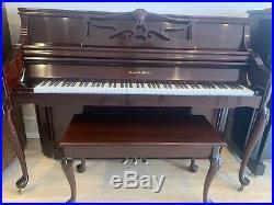 Charles Walter Piano 2003 Matching Bench Dark Red Mahogany MINT condition