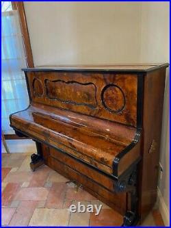 F. Rosener, Berlin German Overstrung Iron Framed Walnut Inlaid Upright Piano