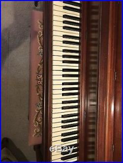 Gulbransen Piano with Matching Needlepointed Cushion Bench