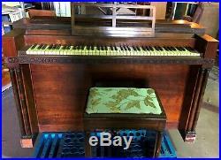 Hardman Peck Eavestaff Pianette Piano Matching Bench Vintage