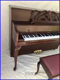 Kawai Upright Console Piano, 607 Designer Series, One Owner, Mahogany Finish