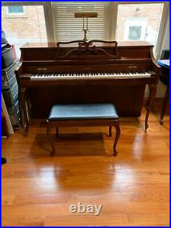 Kimball Artist Console Upright Piano 57 inches chestnut brown