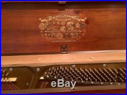 Kimball Artist Console Walnut Piano & Bench, Ornate Wood Decor Book Rest, Labels