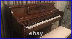 Kimball Artist Console upright piano with matching bench seat