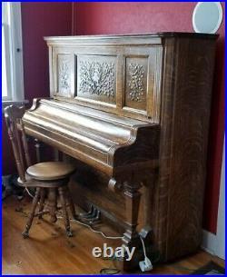Kimball upright piano Victorian Piano In Quarter Sawn Oak 1905