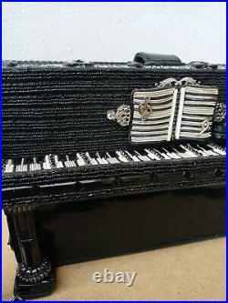 Mary Frances Upright Piano music Black SPRING Purse Bead Bag Handbag
