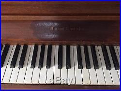 Mason & Hamlin walnut console upright piano #52785 with bench