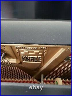 Mid Century Modern Knabe Piano Console Upright Piano Satin Ebony- Black