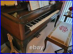 Mid Century Modern Upright Baldwin Acrosonic Piano in Walnut and Cane with Bench
