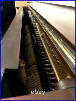 Ornate Emerson Cabinet Grand Upright Piano 58 Satin Mahogany