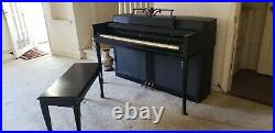 Rare Antique WURLITZER Black Lacquer UPRIGHT PIANO & BENCH. Works Well. 88 keys
