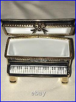 Rochard Limoges France Hand Painted Upright Piano- Orchestra Scene Trinket Box