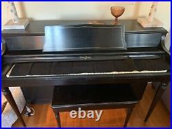 Rudolph Wurlitzer Piano, Ebony Upright Piano and Bench