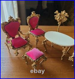 Set Of Spielwaren Doll Furniture Upright Piano Table Chairs Lamps Free Shipping