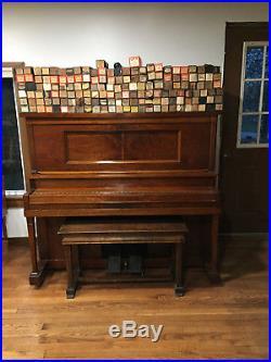 Stauch Bros Player Piano, Oak pump player + 158 rolls
