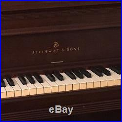 Steinway 41 Console Piano In Original Dark Mahogony And Upholstered Bench