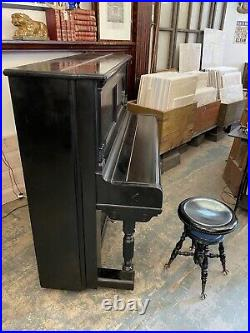 Steinway & Sons 1890s Black F 54 Upright Piano with Ball & Claw Piano Stool