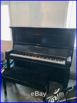 Steinway Studio Upright Piano, Ebony Lacquer Model #91966 In Great Condition