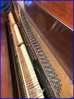 Unique Kimball Victorian Style Console Upright Piano, Gorgeous Mahogany
