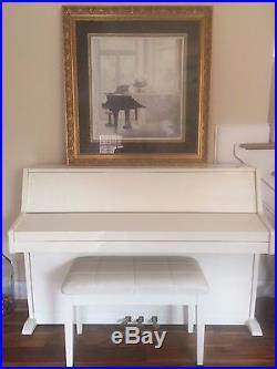 Unique White Baldwin Upright Piano with Stool