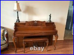 Vintage Gulbransen 1940's ornately carved piano with bench