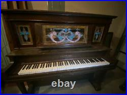 Vintage Hobart M Cable Upright Player Piano with Stained Glass front panels