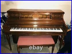 Vintage Kimball 42 Medium Walnut Console Piano (with Bench, Warranty & More)
