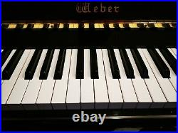 Weber 131 Upright Piano, Polished Ebony, comes with chair