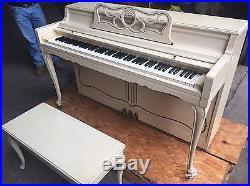 White / Cream Wurlitzer Piano with Bench