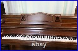 Wm. Knabe & Co walnut finish upright piano with matching bench