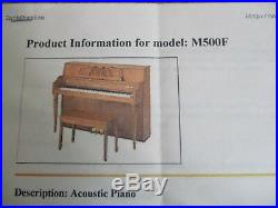 YAMAHA M500F Upright Light Oak Acoustic Piano withbench MINT COND